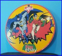 Vintage Conoco Batman Robin Gas Porcelain Gasoline And Oil Comic Pump Plate Sign