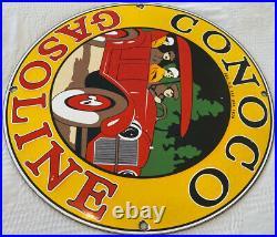 Vintage Conoco Gasoline Porcelain Sign Gas Station Pump Plate Motor Oil Service