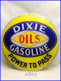 Vintage Dixie Gasoline Oils Power to Pass Gas Pump Globe Lens Mounted for Displa