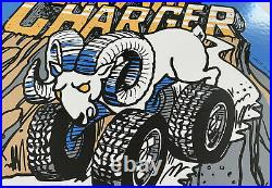 Vintage Dodge Ram Charger Porcelain Sign Dealership Metal Gasoline Oil Bronco