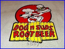 Vintage Dog N Suds Root Beer 12 Baked Metal Diner Restaurant Gasoline Oil Sign