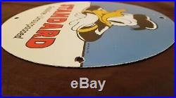 Vintage Donald Duck Porcelain Walt Disney Standard Gas Oil Service Station Sign