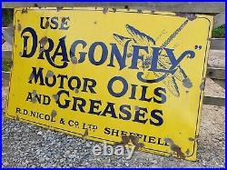 Vintage Dragonfly Motor Oil Enamel Advertising Sign Automobilia Motoring Petrol