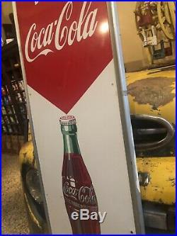 Vintage Drink Coca Cola Refresh Vertical Metal Sign 54 X 18 Gas Oil Soda Pop
