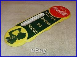 Vintage Drink Coca Cola Soda Pop 18 Porcelain Metal Gas Oil Thermometer Sign
