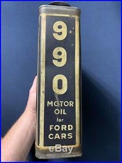 Vintage Early Original Socony 990 Motor Oil Can Ford Cars New York One Gallon