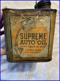 Vintage Early Rare Antique Supreme Auto Oil Gulf Refining Co One Gallon Oil Can
