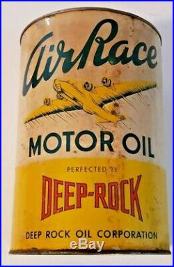 Vintage Empty 5 Quart Deep Rock Air Race Premium Oil Can Airplane Gas Station