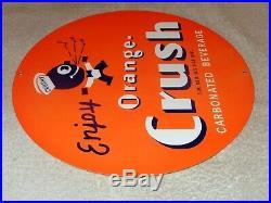 Vintage Enjoy Wards Orange Crush Crushy 11 3/4 Metal Soda Pop Gasoline Oil Sign