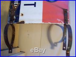 Vintage Esso Credit Card Honored Porcelain Pole Sign w Brackets-Gas
