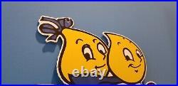 Vintage Esso Gas Porcelain Oil Drop Boy Girl Scooter Service Gasoline Barn Sign