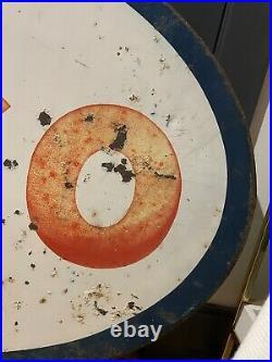 Vintage Esso Gas Sign Original 42 Oval Display Oil Station Tiger Standard Mobil