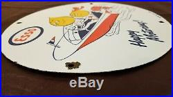 Vintage Esso Gasoline Porcelain Gas Outboard Engine Oil Service Pump Plate Sign
