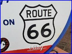 Vintage Esso Happy Motoring Route 66 Porcelain Enamel 1964 Gas Oil Pump Sign