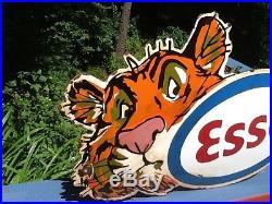 Vintage Esso Oil Metal Porcelain Tiger Sign with tiger head Logo Gas Gasoline