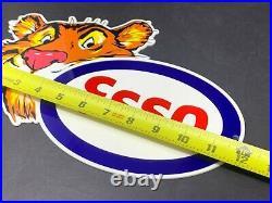 Vintage Esso Tiger Gasoline Die-cut Metal Advertising 12 Gas & Oil Display Sign