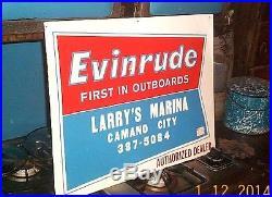 Vintage Evinrude Outboard Boat Motor Metal Sign Gasoline Oil Camano City WA