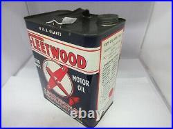 Vintage Fleetwood Two Gallon Service Station Oil Tin Can Automobilia M-504