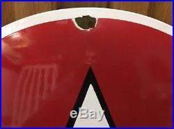 Vintage Flying A porcelain sign 27 heavy convex gasoline oil gas Tydol Mobil