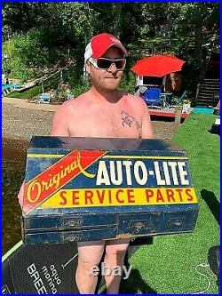 Vintage Ford Auto Lite Parts Display Cabinet Sign Gasoline Oil