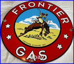 Vintage Frontier Gasoline Porcelain Sign Gas Station Motor Oil Bucking Bronco