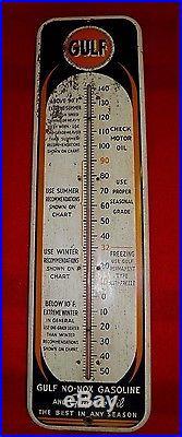Vintage GULF GULFPRIDE OIL No-Nox Gasoline Thermometer 27 GAS OIL PETRO NICE