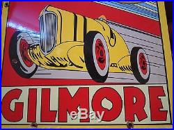 Vintage Gilmore Motor Oil Advertising Heavy Steel Porcelain Sign Gas Garage