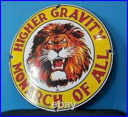 Vintage Gilmore Porcelain Lion Gravity Monarch Gas Oil Service Station Pump Sign