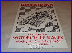 Vintage Gilmore Stadium Motorcycle Race 18 Porcelain Metal Gasoline & Oil Sign