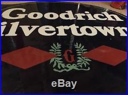 Vintage Goodrich Silvertown Porcelain Flange Sign Gas Oil Goodyear Original Old
