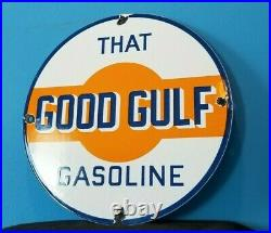 Vintage Gulf Gasoline Porcelain Gas Oil Service Station Pump Plate Oil Rack Sign