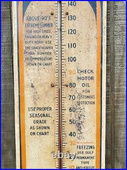 Vintage Gulf Oil Gulfpride Thermometer 1940's metal sign working No-Nox 26.5
