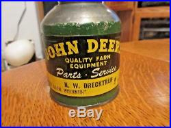 Vintage HW Drecktrah JOHN DEERE Equipment West Salem Wisconsin DEALER OIL CAN