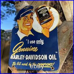 Vintage Harley Davidson Motorcycle Oil Porcelain Sign USA Lube Can Gas Station