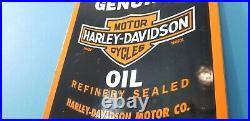 Vintage Harley Davidson Motorcycles Porcelain Gas Service Motor Oil Quart Sign