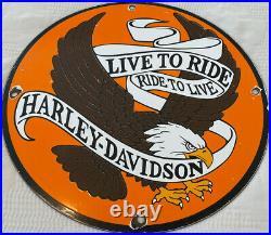 Vintage Harley Davidson Porcelain Dealer Sign Gas Station Motorcycle Oil Eagle