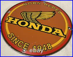 Vintage Honda Porcelain Sign Gas Oil Garage Repair Motorcycle Auto Lawn Plane