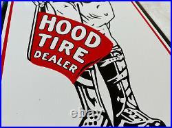 Vintage Hood Tire Dealer Porcelain Sign Gas Oil Pump Plate Service Station Rare