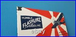 Vintage Humble Gasoline Porcelain Humble Motor Gas Oil Service Station Pump Sign