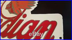 Vintage INDIAN MOTORCYCLE SINCE 1901 Thick Porcelain Auto, Gas & Oil Sign