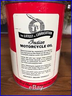 Vintage Indian Motorcycle Company 1 Quart Metal Oil Can NOS Full Harley Antique