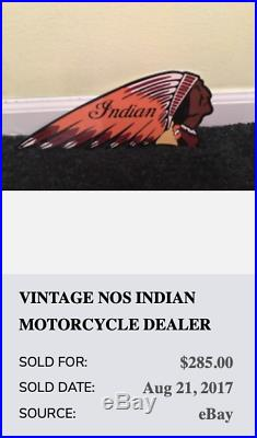 Vintage Indian Motorcycle Company Die-cut Chief 12 Metal Gasoline & Oil Sign
