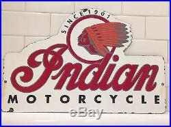 Vintage Indian Motorcycle Gas Oil Pump Plate Porcelain Metal Sign Since 1901