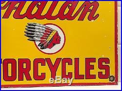Vintage Indian Motorcycle Oil Gas Station Pump Plate Porcelain Enamel Metal Sign