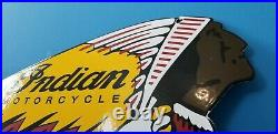 Vintage Indian Motorcycle Porcelain Gas Oil Native American Chief Service Sign
