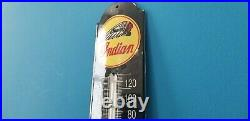 Vintage Indian Motorcycles Porcelain Gas Oil Sign Pump Plate Ad Thermometer