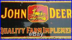 Vintage JOHN DEERE QUALITY FARM IMPLEMENTS porcelain sign farm gas oil Dealer