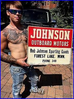 Vintage Johnson Outboard Boat Motor Metal Sign Forest Lake MN Gasoline Oil