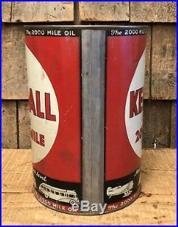 Vintage KENDALL The 2000 Mile Motor Oil Auto Car Plane Gas Station 5 Qt Can Sign