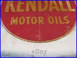Vintage Kendall Motor Oil 24 Inch 2 Sided Metal Sign